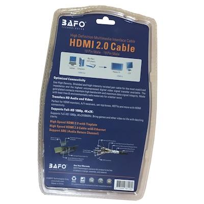 جهت اتصال کامپیوتر و لپ تاپ و پخش کننده به تلورزیون های 4K و ویدیو پروژکتور های حرفه ای و مانیتور می توان از کابل HDMI1M ورژن ۲ بافو استفاده کرد.