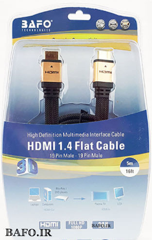 کابل اچ دی ام آی فلت سر طلایی بافو HDMI Cable-Flat-Mesh-Gold