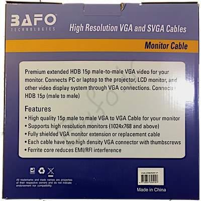 کابل مانیتور که در بازار به آن VGA یا RGB نیز گفته می شود جهت اتصال کارت گرافیک به ویدیوپروژکتور و مانیتور به کار می رود.